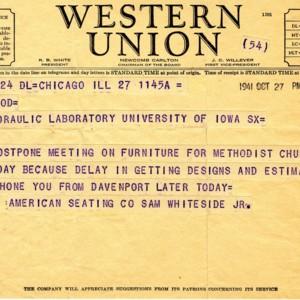 Telegram from Sam Whiteside, Jr. of the American Seating Company to Mr. Mcleod