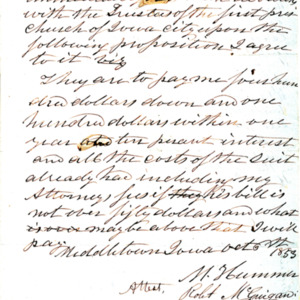1853 Rev. Hummer's Proposed Settlement with the First Presbyterian Church