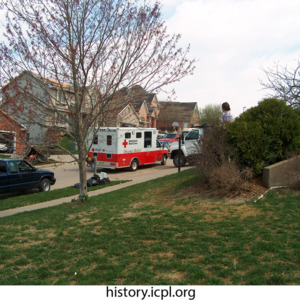 Red Cross truck parked on Woodridge Avenue