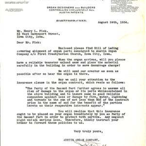 1934 Letter from H.A. Walker to Henry L. Fisk, regarding the shipment of organ parts