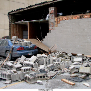 Cement-block crushed car