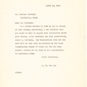 1944 Letter from J. Van der Zee to Mr. Sherman McCready