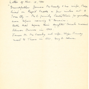 1940 Letter regarding Barnes genealogy