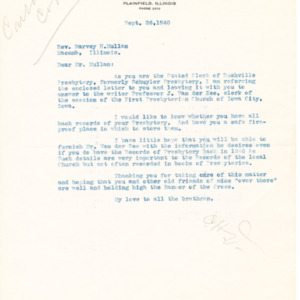 1940 Letter to Rev. Harvey H. Mullan