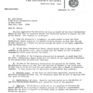 1971 Letter regarding purchasing First Presbyterian Church building