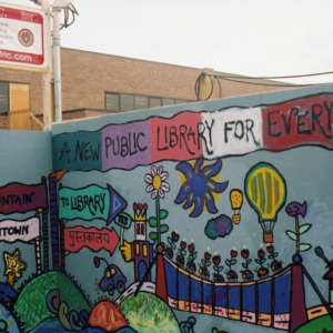 """""""A New Public Library for Everybody"""" ICPL Construction Wall Panel Corner, 2002"""