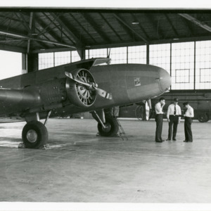 United Airlines Boeing 247 at Iowa City Municipal Airport, 1934
