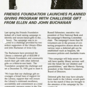 1993 Friends Foundation Launches Planned Giving Program with Challenge Gift from Ellen and John Buchanan