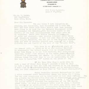 1941 Letter from J. Kirkwood Craig to Mr. A. J. Larew