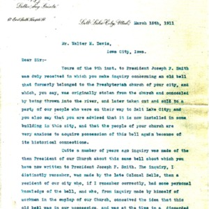 1911 Letter from George Gibbs to Walter Davis about the Church's missing bell