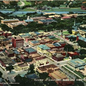 Airview of Iowa City, Iowa and State University