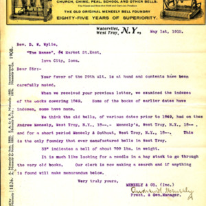 1912 Letter from Andrew Meneely to Rev. Wylie about bells