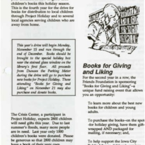 1993 November News from the Iowa City Public Library Friends Foundation