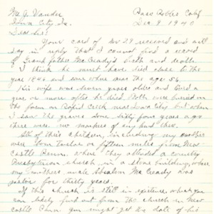 1940 Letter from Guy L. Barnes detailing McCready genealogy