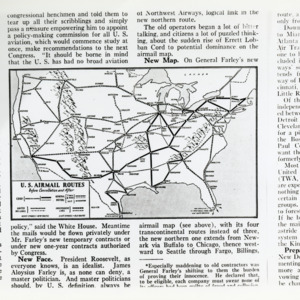 Map of the Transcontinental U.S. Airmail routes, 1934