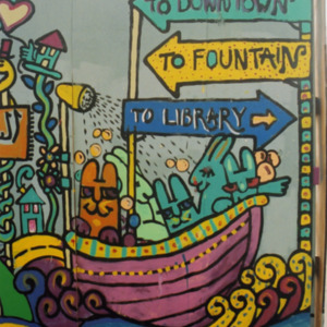 """""""To Downtown"""" Directional, ICPL Construction Wall Panel, 2002"""