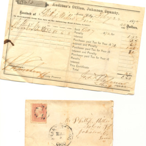 Tax Form and Envelope, 1872