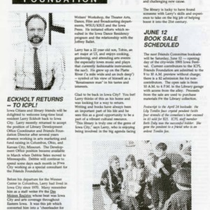 1993 June News from the Iowa City Public Library Friends Foundation