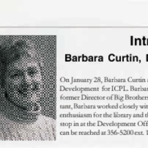 2002 Introducing Barbara Curtin Director of Development