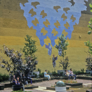 Black Hawk Pedestrian Park Mural, Corner of Dubuque & Washington Streets, 1975