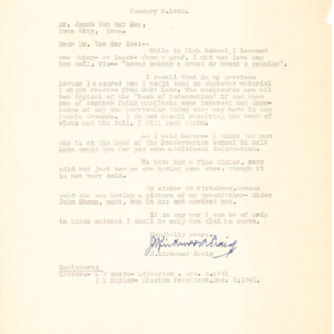 1942 Letter from J. Kirkwood Craig to Jacob Van der Zee
