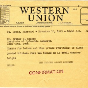 Telegram from The Kilgen Organ company to A.M. McLeod