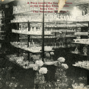 A Peep Inside the Crystal Room at the Dresden China Store, Iowa City, Iowa