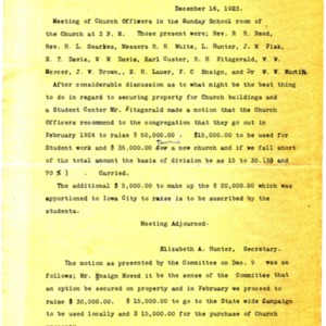 1923 First Presbyterian Church officers meeting minutes