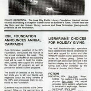 1989 ICPL Foundation Announces New Campaign