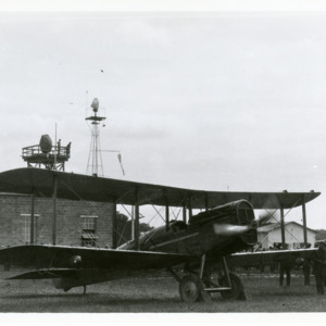 Air Mail plane at Iowa City Airport field, 1923