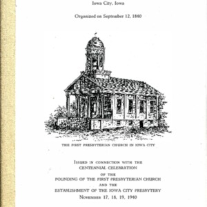 1940--History of First Presbyterian Church of Iowa City, 1840-1940