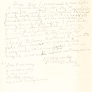 1944 Letter from H. S. McCready