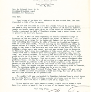 1941 Letter from Alvin F. Smith to Rev. J. Kirkwood Craig