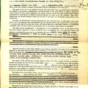1934 Memorandum of Agreement between First Presbyterian Church of Iowa City and the Austin Organ Company