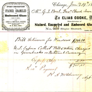 1865 Receipt for payment of stained glass windows
