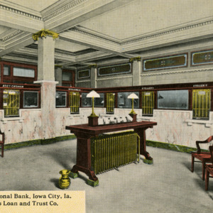 Lobby, First National Bank, Iowa City, Iowa. The Farmers Loan and Trust Co.