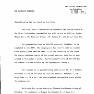 1974 First Presbyterian Church groundbreaking press release