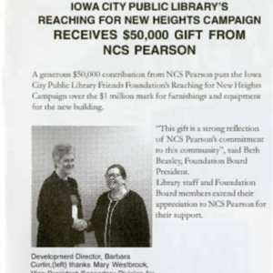 2003 Iowa City Public Library's Reaching for New Heights Campaign Receives $50000 Gift from NCS Pearson