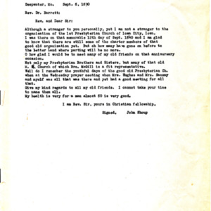 1890 Letter from John Shoup to Rev. Dr. Barrett