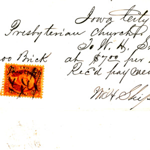 1869 Receipt for bricks for First Presbyterian Church of Iowa City