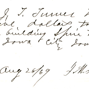 1869 Receipt for building spire at First Presbyterian Church of Iowa City