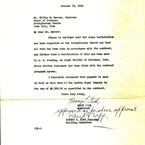 1934 Letter from Henry Fisk to Willis Mercer regarding the installation of the new organ in the Church