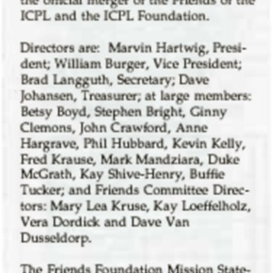 1993 Friends Foundation Board Organizes