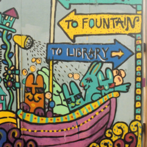 """""""To Downtown"""" Close-Up Directional, ICPL Construction Wall Panel, 2002"""