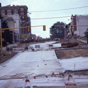 East Washington Street construction during Urban Renewal, 1975