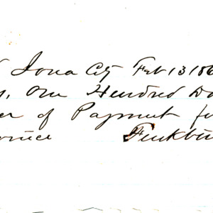 1865 Receipt for payment for building part of the church cornice
