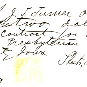 1869 Receipt for building First Presbyterian Church spire