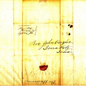 1844 Envelope from Rev. Michael Hummer