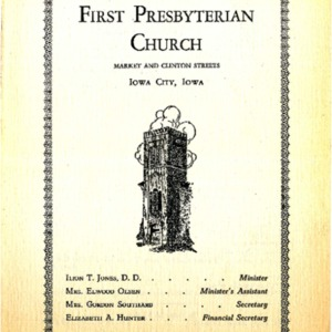 1940 First Presbyterian Church of Iowa City Centennial Celebration program