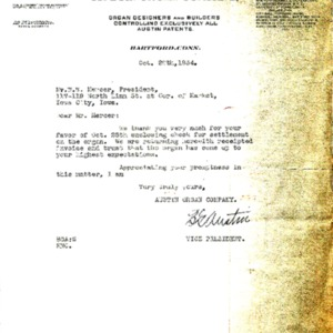 1934 Letter from BG Austin to WW Mercer of the First Presbyterian Church regarding the receipt of payment and invoice for the new organ